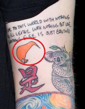 Ed Sheeran Kiwi Tattoo