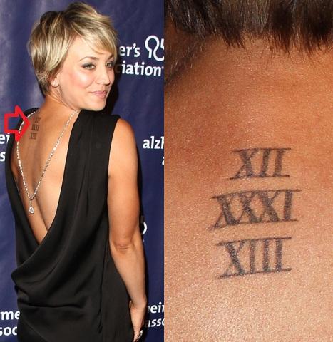 Kaley Cuoco Roman Numeral Back Tattoo