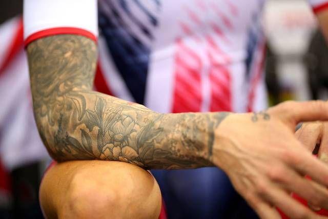 Roses on arm-Sir Bradley Wiggins tattoos