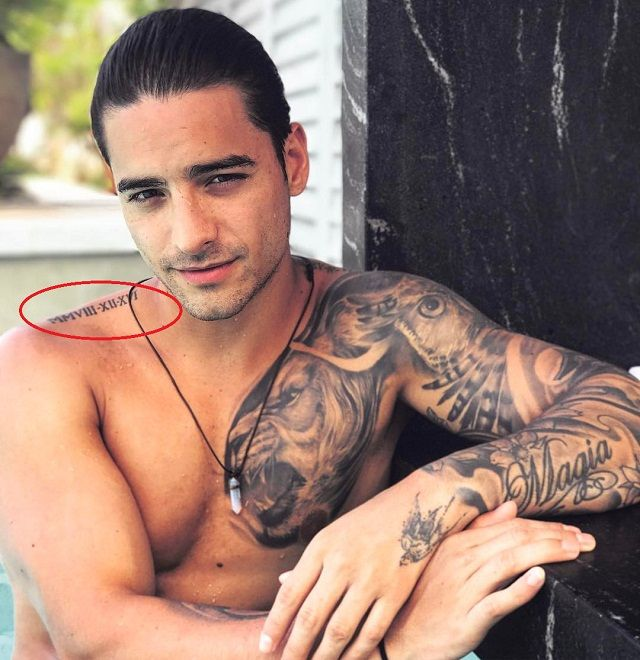 roman numeral on right shoulder-maluma tattoo