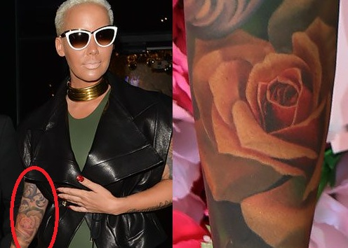Amber-Rose-Right Arm Rose Tattoo