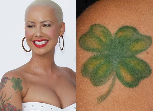 Amber-Rose-Shamrock-Shoulder-Tattoo