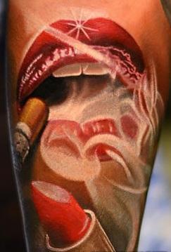 Amber Rose Smoking Lips Tattoo