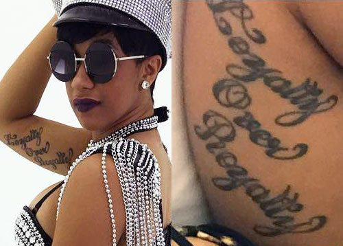 Cardi B Loyality Over Royality Tattoo