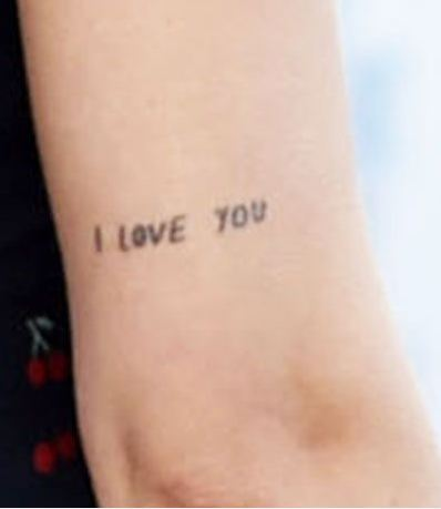 Dakota Johnson I LOVE YOU Tattoo