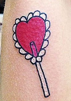 Melanie-Martinez-Heart Shape Lollipop-Tattoo