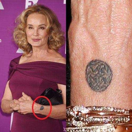 Jessica Lange Moon Wrist Tattoo
