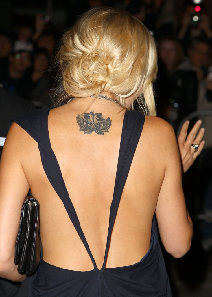 Malin Akerman back tattoo