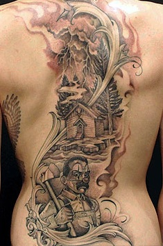 Skylar Grey Back Tattoo