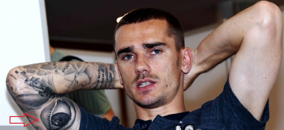 Antoine Griezmann right arm eye tattoo