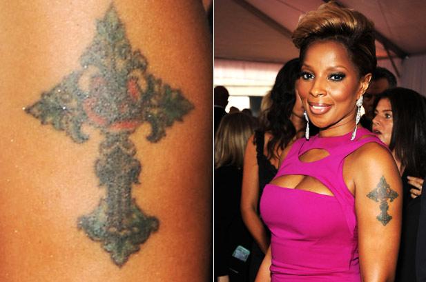 Mary J Blige Cross Tattoo