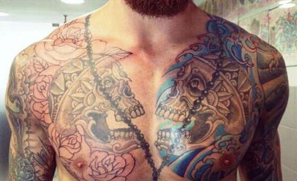 Raul Meireles Chest Transformed Skull Tattoo