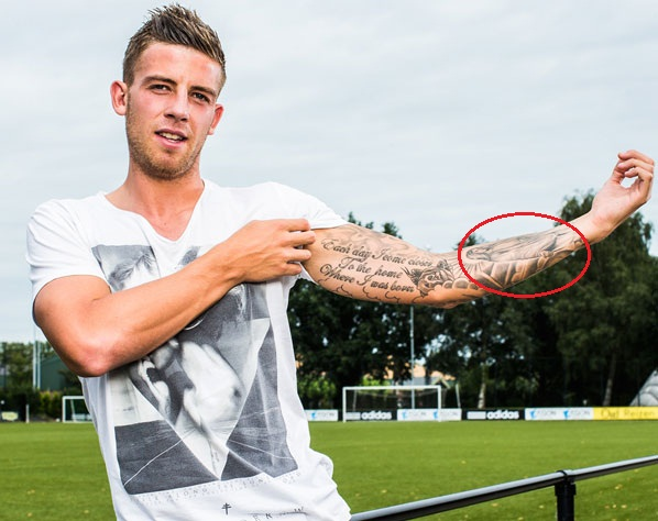 Toby Aderweireld left arm Angel tattoo