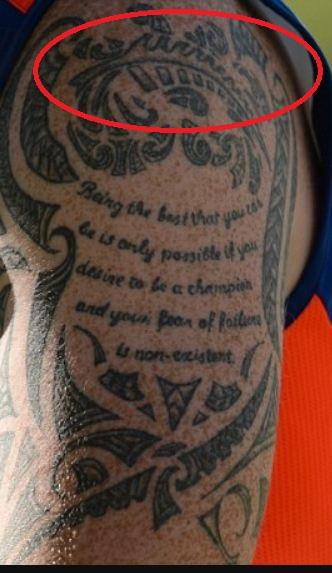 Ben Stokes Silver Fern Symbol Tattoo
