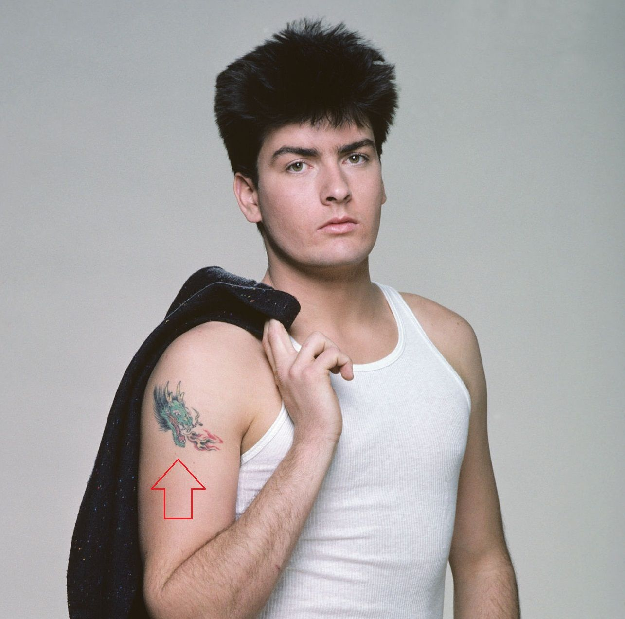 Charlie Sheen Right Arm Dragon Tattoo