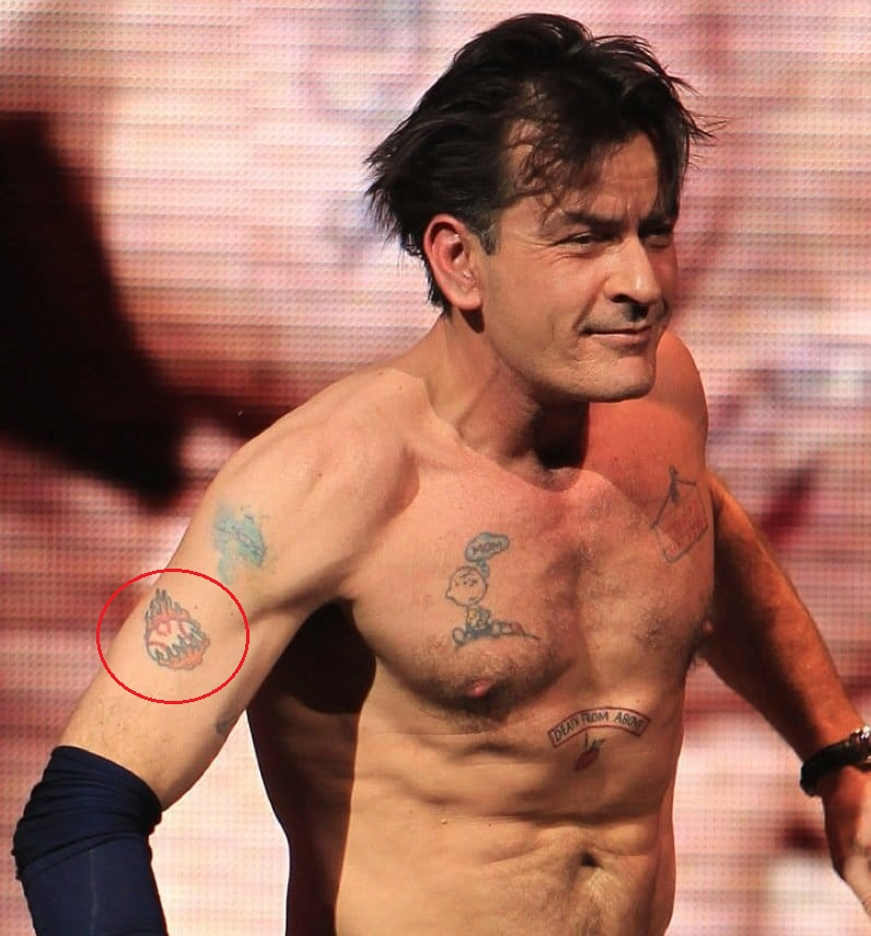 Charlie Sheen Right Arm Fire Ball Tattoo