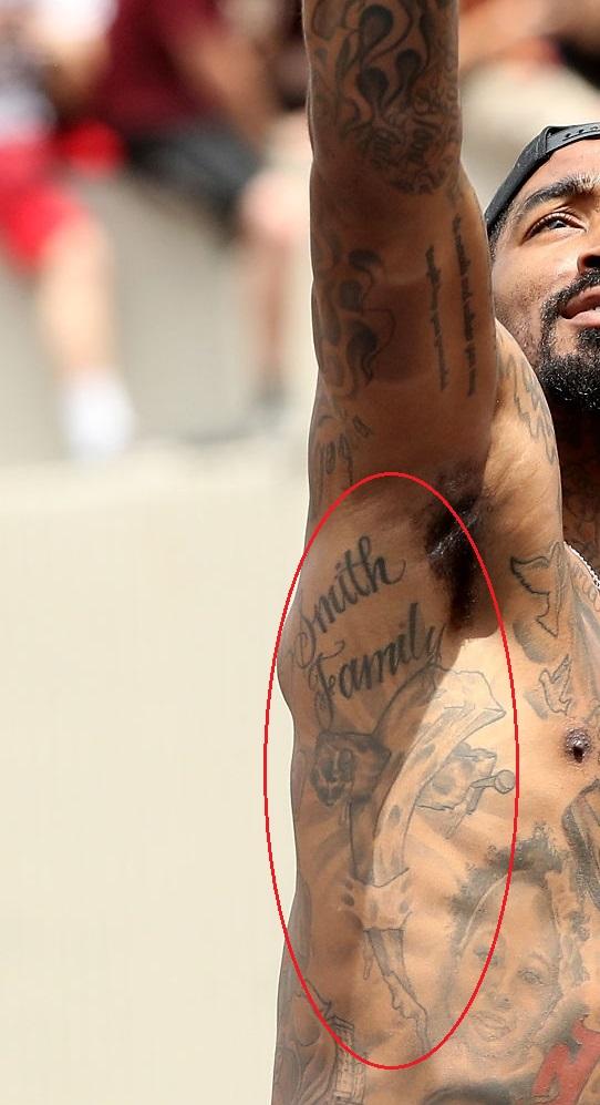 J.R Smith Left Side Celtic Cross Tattoo