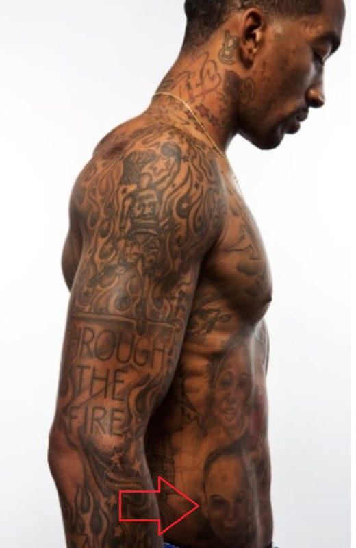 J.R. Smith Lower Abdomen Face Tattoo