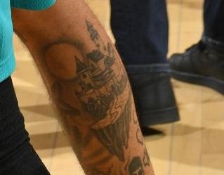 Jeremy Lamb Right Back Leg Portrait Tattoo