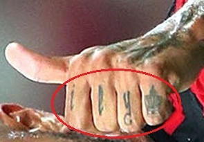 Paolo Guerrero Left Hand knuckle Tattoo 01