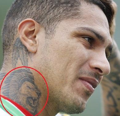 Paolo Guerrero Neck Lion Head Tattoo