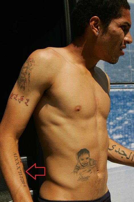 Paolo Guerrero Right Arm Numeral Tattoo