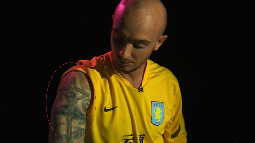 Stephen Ireland Right Shoulder Crucifix Tattoo