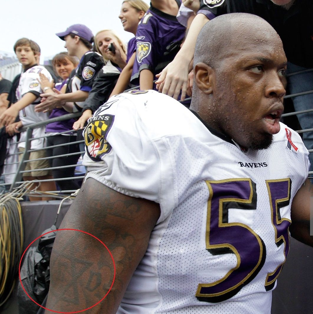 Terrell Suggs Right Arm Jewish Star Tattoo 01