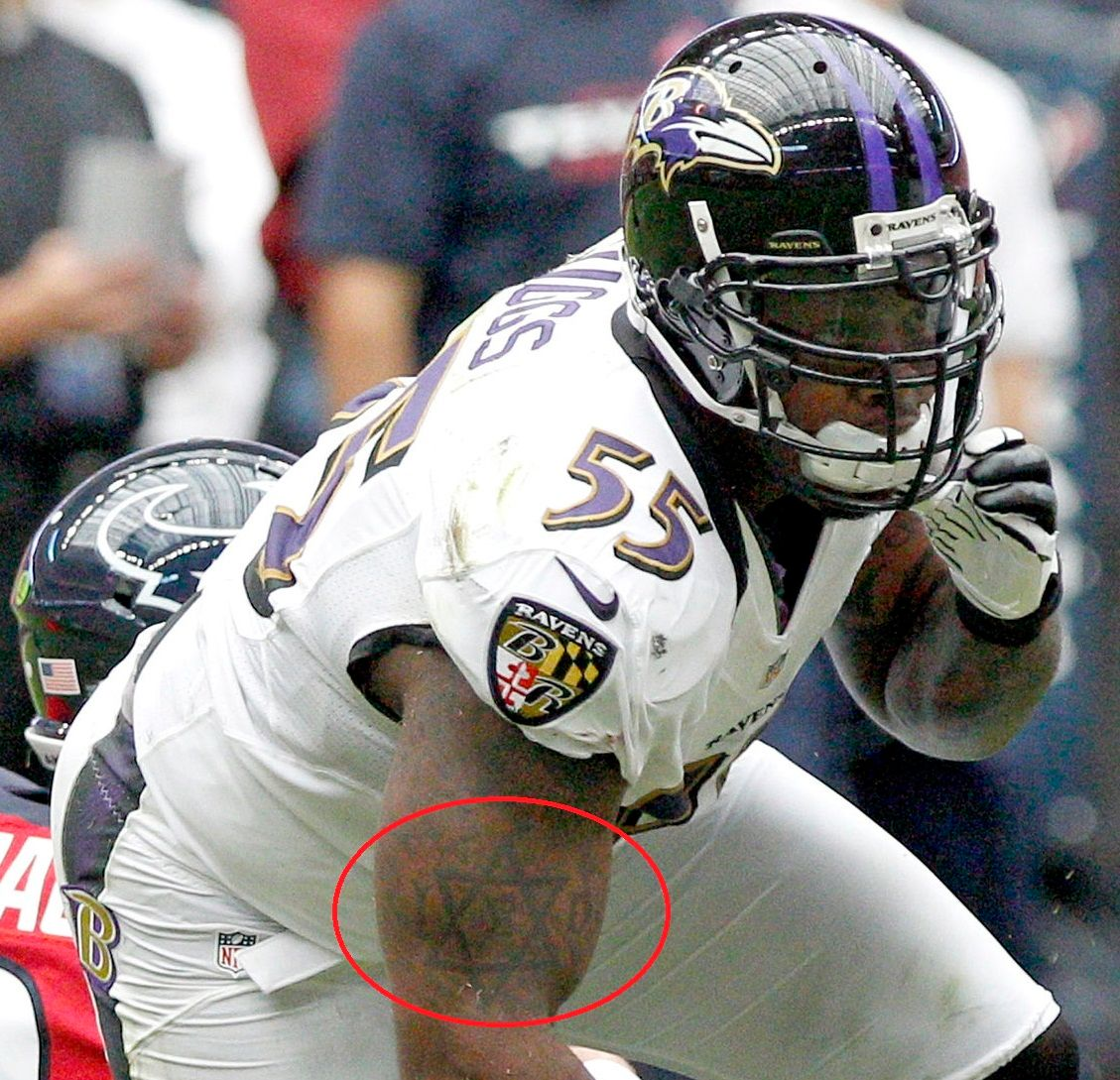 Terrell Suggs Right Arm Jewish Star Tattoo 02