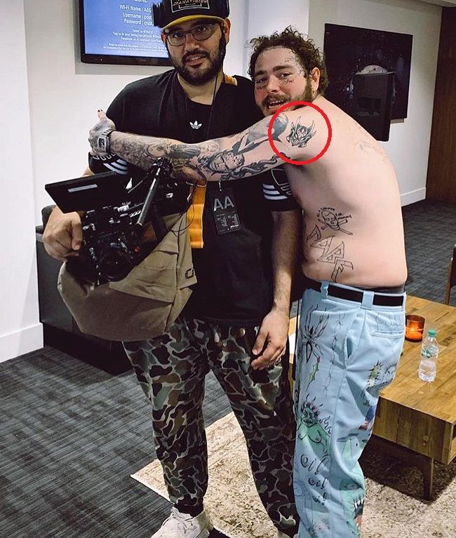 post malone-miraak mask tattoo