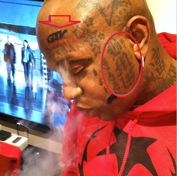 Birdman Left Face Tattoos-