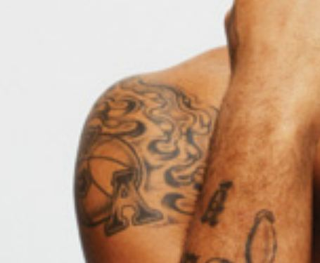 Carmelo Shoulder Flaming Basketball Tattoo