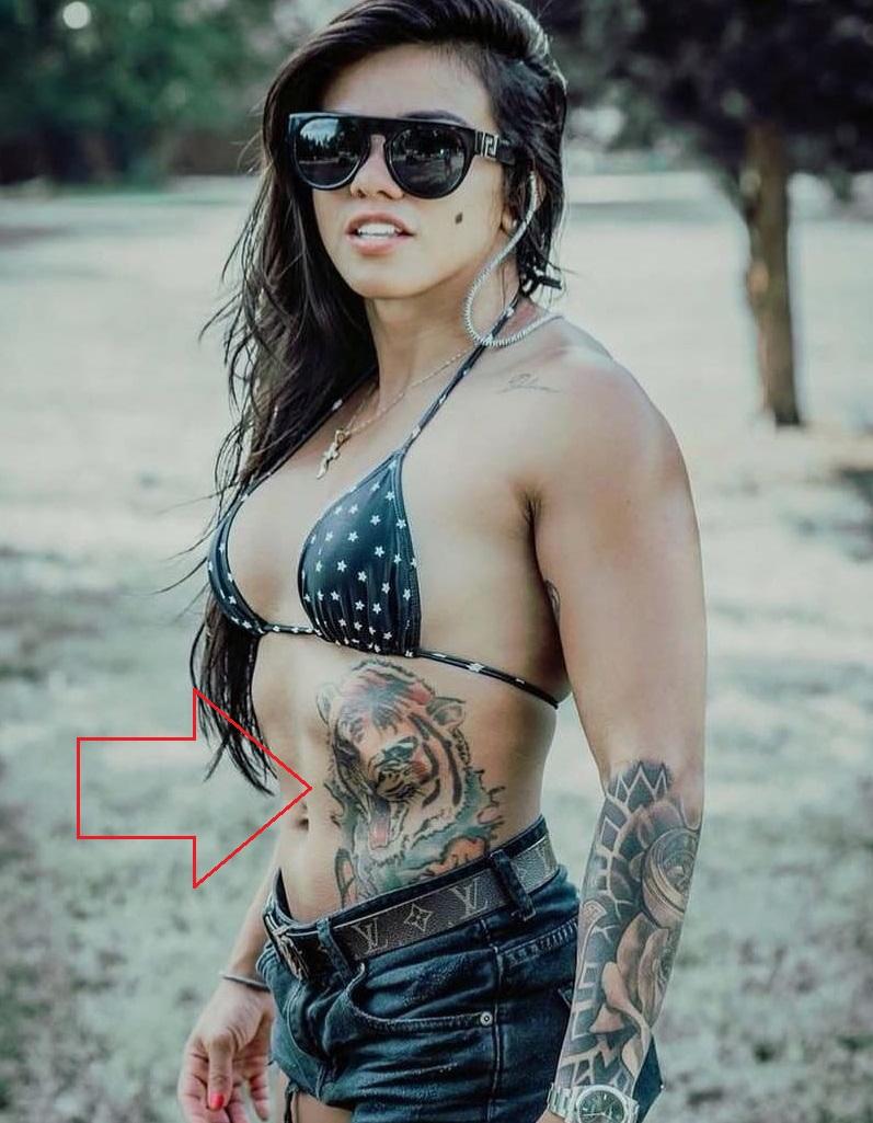 Claudia Gadelha Stomach Tattoo