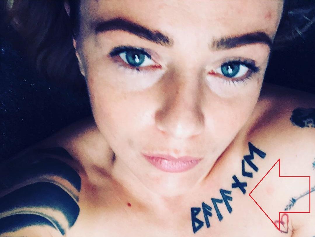 Joanne Calderwood Chest Tattoo