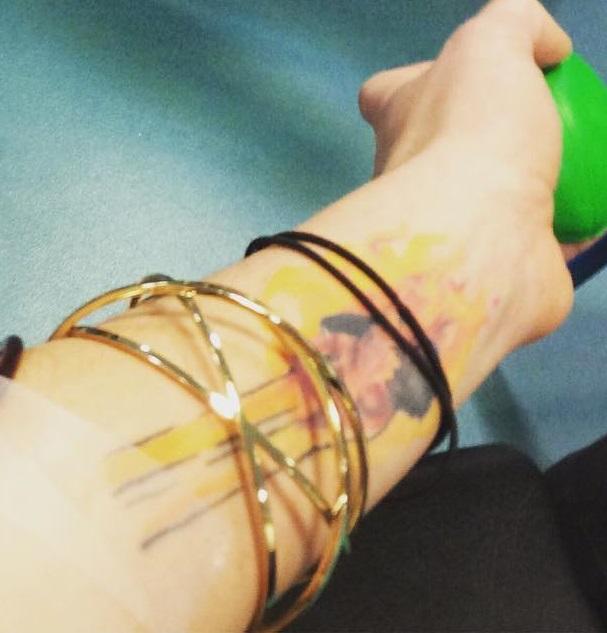 Joanne Calderwood Left Arm Inside Tattoo