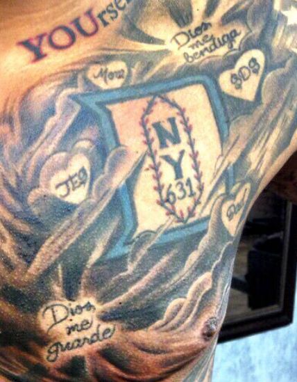 Marcus Stroman Left Pec Family Tattoo