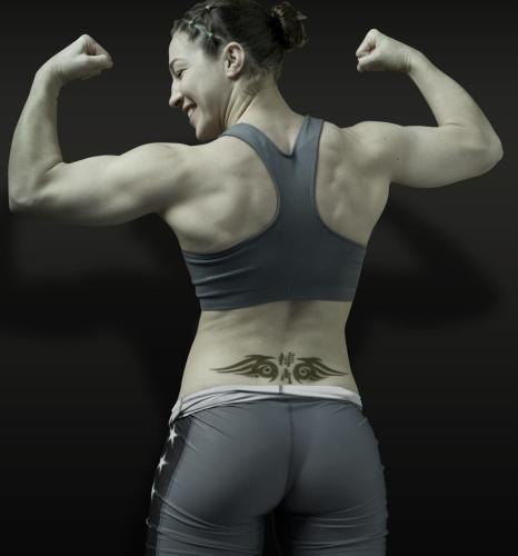 Sara McMann Back Kanji Tattoo