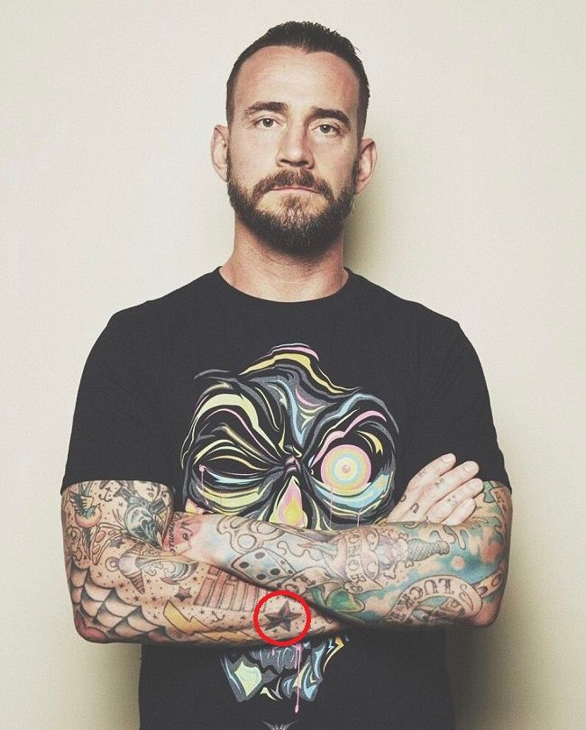 CM Punk-crystal star tattoo