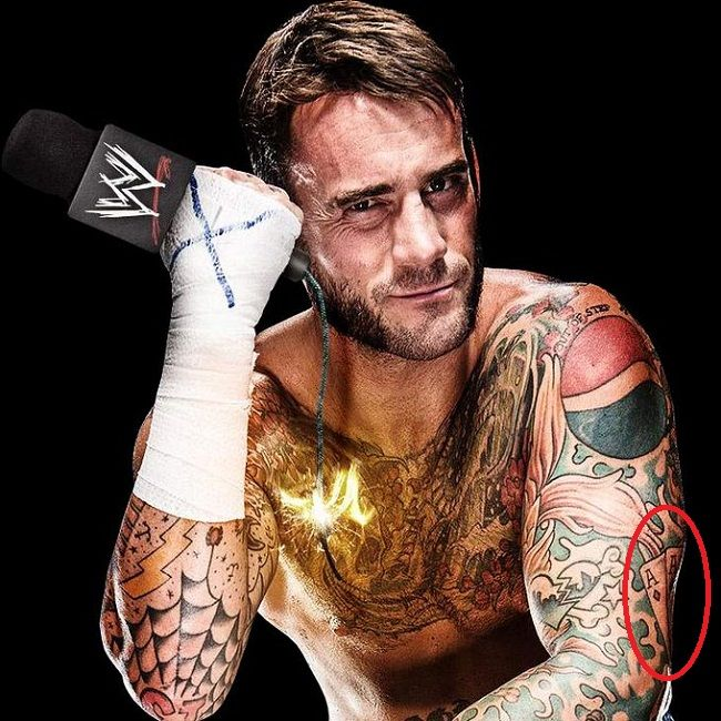 CM Punk-four ace playing cards tattoo