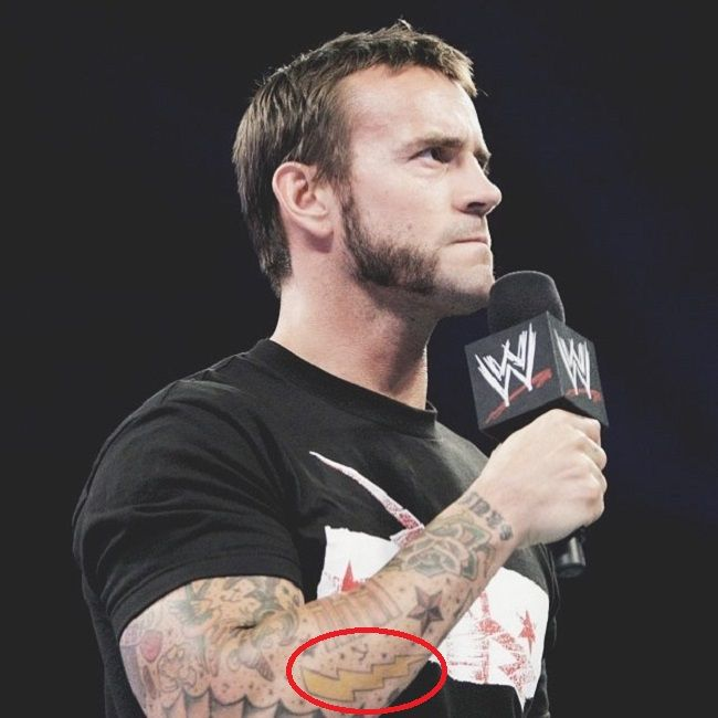 CM Punk-lighting bolt tattoo