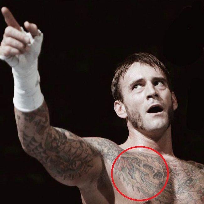 CM Punk-skull tattoo