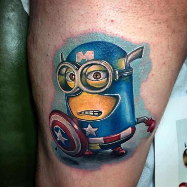 Colorful Captain America Minion Tattoo Design