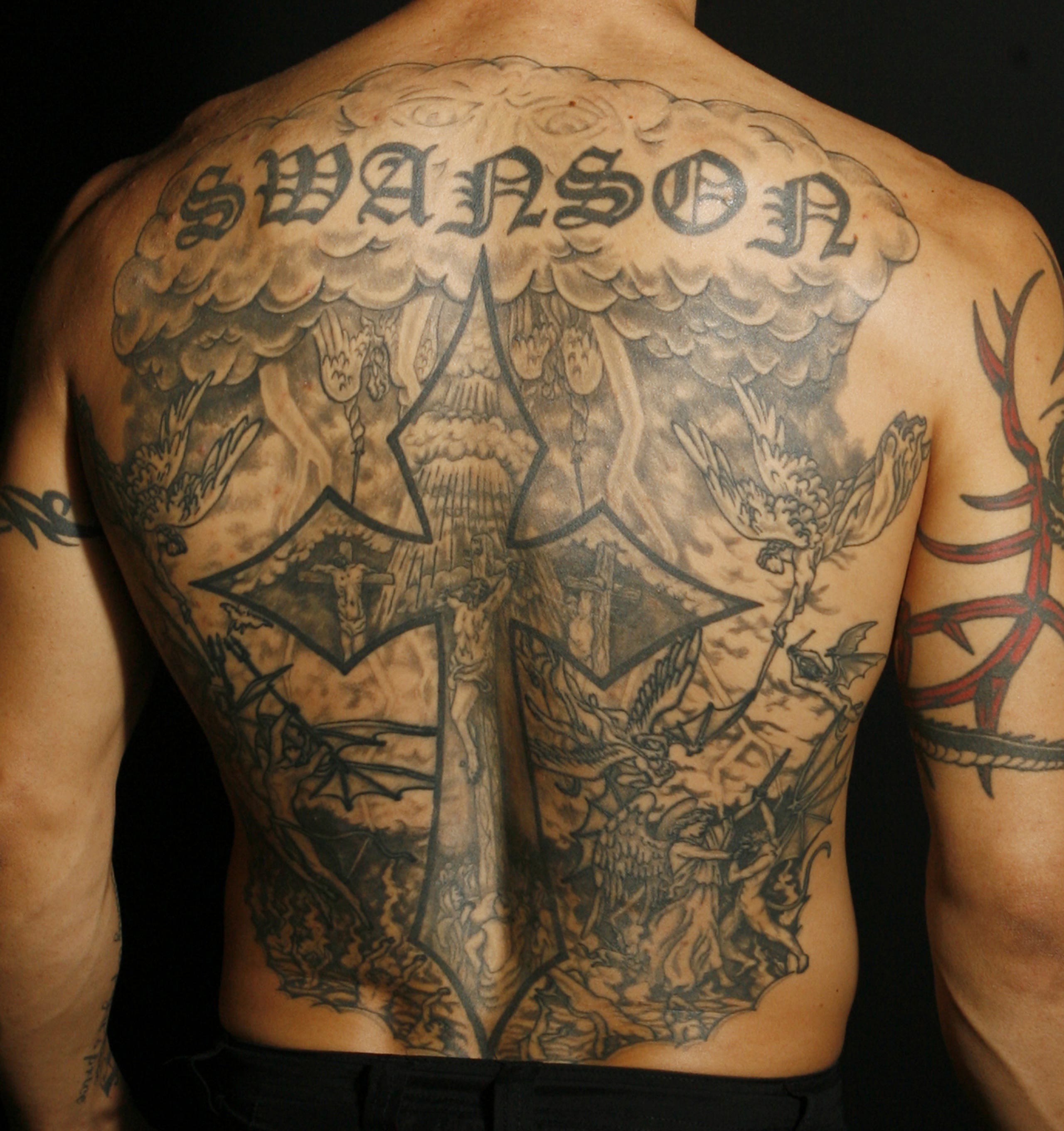 Cub Swanson Back Tattoo