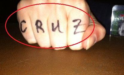 Dominick Cruz knuckle tattoo