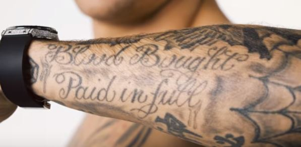Dustin Poirier Blood Bought Pain in Full Tattoo