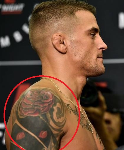 Dustin Poirier Rose and Falling Petals Tattoo