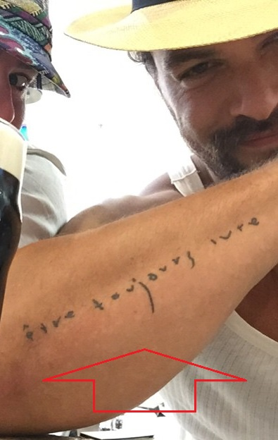 Jason Mamoa Right Arm Text Tattoo