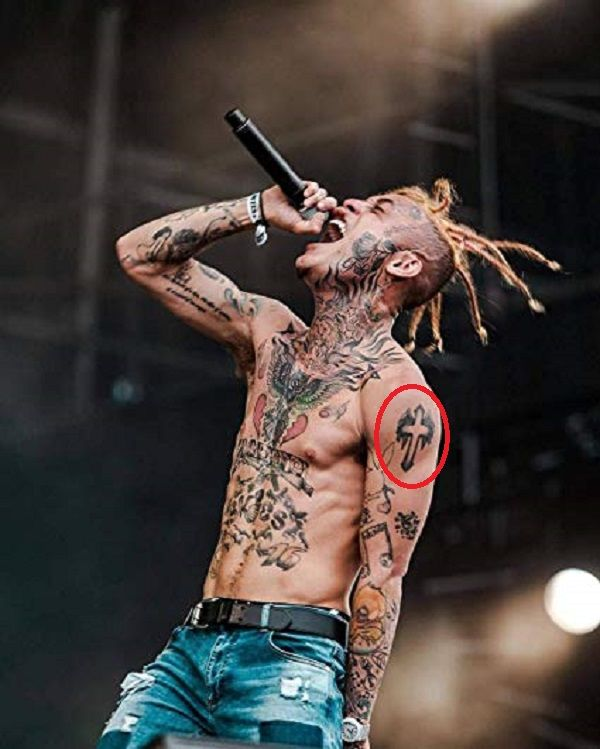 Lil Skies-cross with wings tattoo