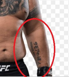 Mark Hunt Left Forearm Writing Tattoo