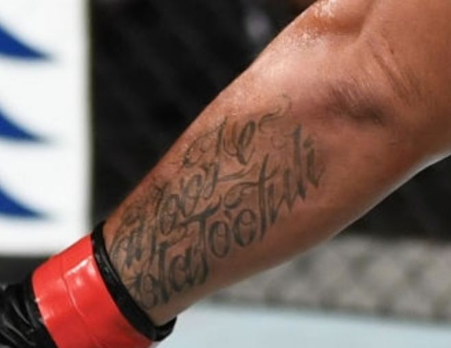 Mark Hunt Left Forearm Writing